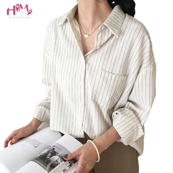 2018 New Spring Autumn Women Blouse Vintage V-Neck Long Sleeve Work Shirts Office Ladies Elegant Tops Vertical Striped Blouse