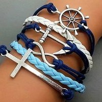 Vintage Style White and Blue Leather Rope Anchor Cross Love Bracelet