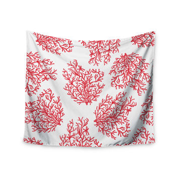 "Anchobee ""Coral"" Red White Wall Tapestry"
