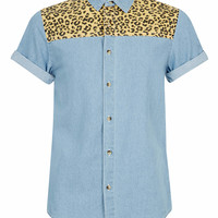 Blue Leopard Print Yoke Short Sleeve Denim Shirt - Men's Shirts - Clothing - TOPMAN USA