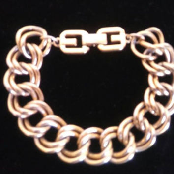 Vintage Givenchy Bracelet, Haute Couture Chunky Wide Designer Signed Jewelry