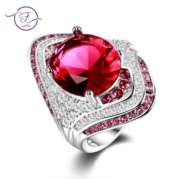 Fashion New 925 Sterling Silver Ring With Ruby Stones For Women Vintage Crystal Zircon Fashion Luxury Party Engagement Jewelry