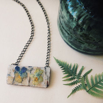 birchbark and violet necklace - resin flower necklace - real flower jewelry - finnish jewelry salvaged from forest - natural jewelry