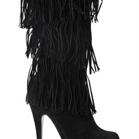 Tall Suede Platform Boot with Fringe
