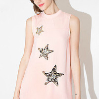 Pink Sequined and Beaded Sleeveless Dress