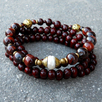 Rosewood and red tiger's eye 108 bead convertible mala necklace with Tibetan capped pearl