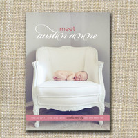 custom photo birth announcement baby chic by westwillow on Etsy