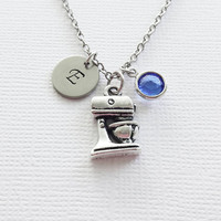 Mixer Necklace Baking Cake Mix Cooking Chef Baker Gourmet Cook Bakery Jewelry Swarovski Birthstone Silver Personalized Monogram Hand Stamped