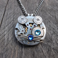 Reserved for Rylee Burke: Clockpunk Steampunk Watch Movement & Gears Kitten Face Pendant Necklace with Swarovski Crystals on Curb Link Chain
