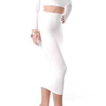 White Long Sleeve Crop Top and Skirt Suit
