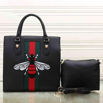 Fashion stripe Bee two piece Shopping Leather Handbag Tote Satchel bag