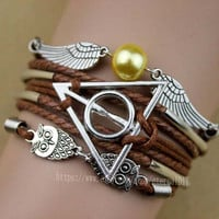 harry potter and the snitch bracelet, owl bracelet fashion charm bracelet, is the most beautiful gift