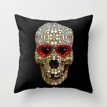 Throw Pillow Cover Candy Skull Art Design Skeleton Love Goth Fun Day Of The Dead Decor Decorating Halloween Living Room Bedroom Bedding