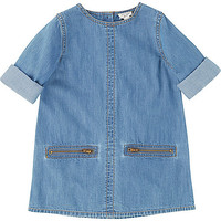 Mini girls mid wash denim zip shift dress