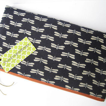 Japanese Dragonflies in Navy. Japanese kimono fabric. Minimalist. Zen. Fabric Pouch.
