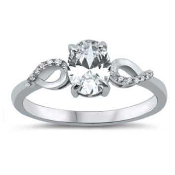 Oval Cut Solitaire Infinity Ring Ladies Size 5-10 in .925 Sterling Silver
