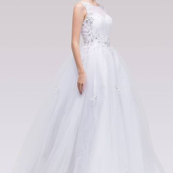 Illusion Lace Embellished Bodice Quinceanera Dress White