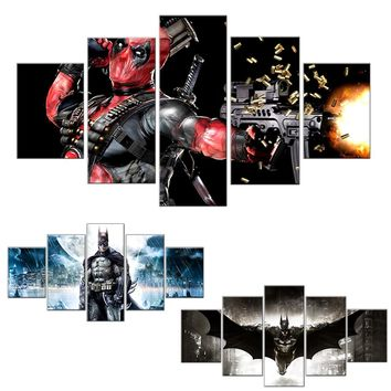 Canvas Painting Unframed 5 Pieces Canvas Prints Pictures for Living Room Cartoon Batman Joker Deadpool Home Decoration Wall Art