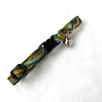 Blue Green Paisley Cat Breakaway Collar - Mossy Green Cat Collar Feline Kitty