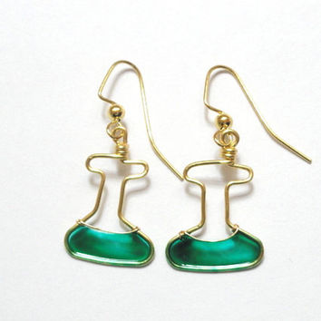 Teal and Gold Erlenmeyer Flask Earrings by nnvillan on Etsy
