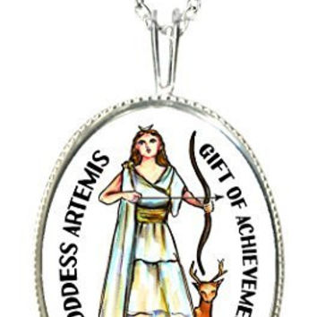 "Goddess Artemis of Achievement 925 Sterling Silver 1"" Pendant & 20"" Chain Necklace"