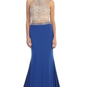 Two Piece Jersey Dress with Nude Beaded Top- Royal Blue/Nude