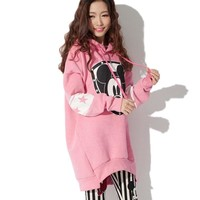 Autumn Women Hoodies Plus Size Medium Long Cartoon Minnie Mouse Printed Casual Hooded Sweatshirt Fleece Warm Tracksuit Coat Tops