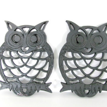 Vintage Owl, 1980's Black Owl Trivets, Iron Trivet, Hot Pad, Vintage Kitchen