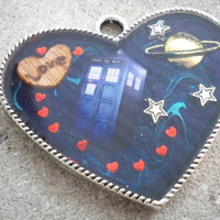 Dr Who Heart Resin Pendant Necklace