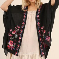 Morning Blooms // Embroidered Kimono Cardigan in Black