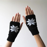 Hand Knit Fingerless Gloves in Black - Embroidered Snowflake - Seamless Knit Gloves - Wool Blend - Ready to Ship