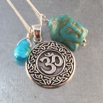 Spiritual Om Necklace Buddha Necklace Boho Necklace