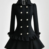 Turn-Down Collar Long Sleeve Ruffles Double-Breasted Black Coat