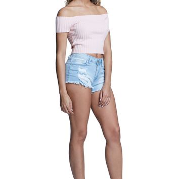 Must Have Distressed Detail Mid Rise Denim Micro Shorts