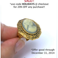Cameo Ring Blue and White Adjustable Goldtone