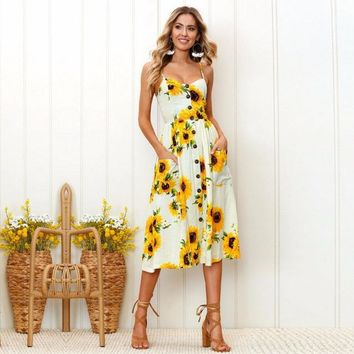 Sunflower Print, Spaghetti Strap,Flowy Summer Dress