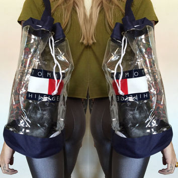 90's Tommy Hilfiger CLEAR Backpack Bag - Clear Drawstring Tommy Hilfiger Purse - 90s Tommy Hilfiger Backpack - Tommy Hilfiger Logo Bag Purse