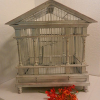 Wood and wire bird cage -- large shabby wedding card holder or decor -- distressed custom hand painted upcycled cage  -- home garden decor