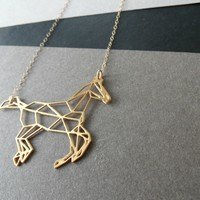 Geometric Galloping Horse Necklace - Wild Thing Studio
