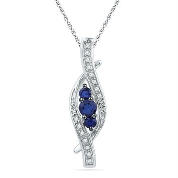 Sterling Silver Women's Round Lab-Created Blue Sapphire Diamond Pendant 1-20 Cttw - FREE Shipping (US/CAN)