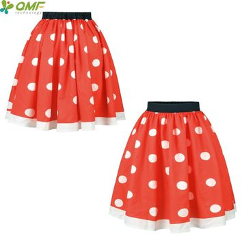 Polka Dot Red Skater Skirts High Waist Knee-Length Tennis Skirt Saia Lady Floral Faldas Sexy Flared Midi Party Skirts Pleated