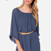 LULUS Exclusive Frill for the Taking Denim Blue Shift Dress