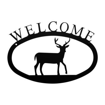 Wrought Iron Deer Welcome Home Sign Small