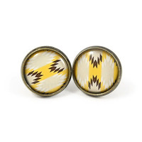 Aztec Print Earring Studs - Yellow Tribal Earring Posts - Yellow Brown Earrings - Native American Pattern
