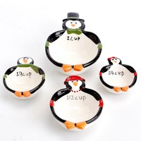 4pc Holiday Penguin Decorated Measuring Cups 611312211