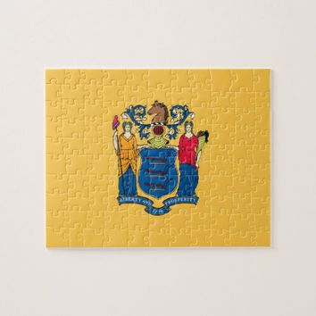 Puzzle with Flag of New Jersey State