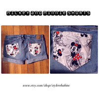 Love Walt Disney?  Summer shorts here! Women size 00 or kids 12 Jean Shorts Mickey Mouse With Minnie a vintage Disney comic