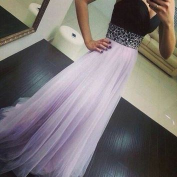 Strapless Black and Light Purple Sequined Maxi Dress