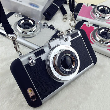Shell Capa For iPhone 7 6 6s Plus 5 5s SE Case 2017 New 2 in 1 Shock Proof Armor 3D Camera Design Phone Cases With Lanyard Funda