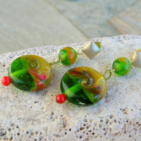 Lampwork Earrings Spring Green Fields Handmade Jewelry Gift for Mom, Mother's Day